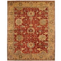 Handmade Herat Oriental Indo Vegetable Dye Oushak Wool Rug (India) - 8' x 10'