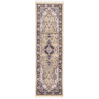Ecarpetgallery Hand-knotted Kashmir Yellow Silk Rug (2'0 x 6'6)