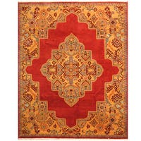 Herat Oriental Indo Hand-knotted Vegetable Dye Oushak Wool Rug (8' x 10')