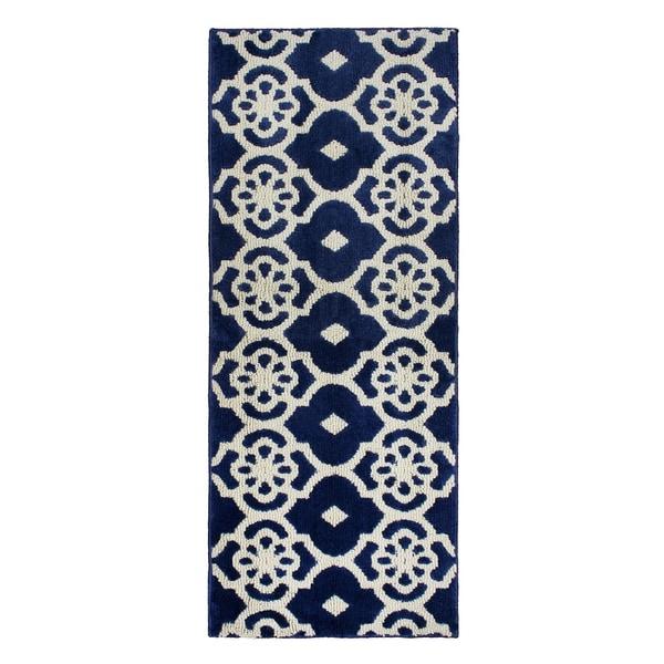 Jean Pierre Cut and Loop Meeko Navy/Berber Textured Decorative Accent Rug -