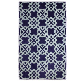 Jean Pierre Cut and Loop Tazo Navy/Mineral Blue Textured Decorative Accent Rug - (28 x 48 in.)