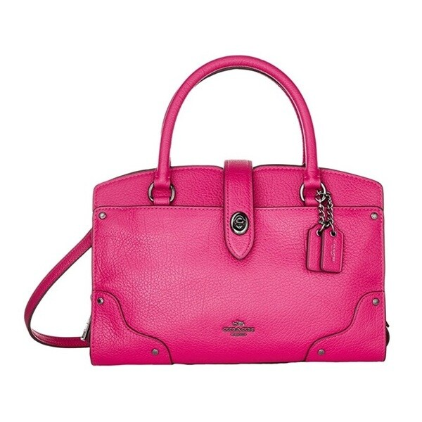 Coach Mercer 24 Cerise Grain Leather Satchel Handbag