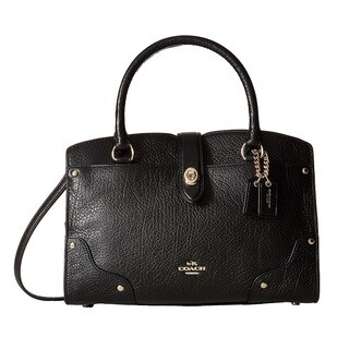 Coach Mercer 24 Black Grain Leather Satchel Handbag