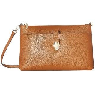 Michael Kors Studio Mercer Large Luggage  Brown Snap Pocket Crossbody Handbag