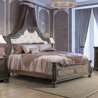 Furniture of America Brey Traditional Brown Solid Wood Tufted Bed