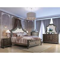 Furniture of America Brigette Traditional Ornate Rustic Natural Tufted Headboard Bed