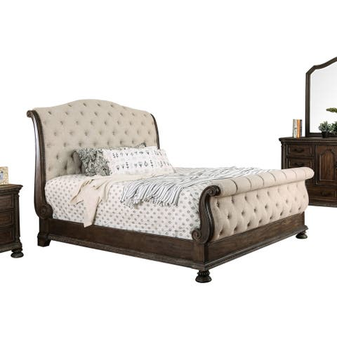 Furniture of America Brev Rustic Beige Fabric Button-tufted Sleigh Bed