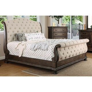 Furniture of America Brigette III Traditional Ornate Rustic Tufted Sleigh Bed