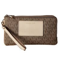 Michael Kors Bedford Mocha Signature Large Double Zip Wristlet Wallet