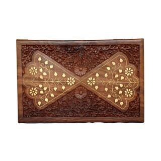 Handmade Floral Sesame Wood 12x8 Box (India)