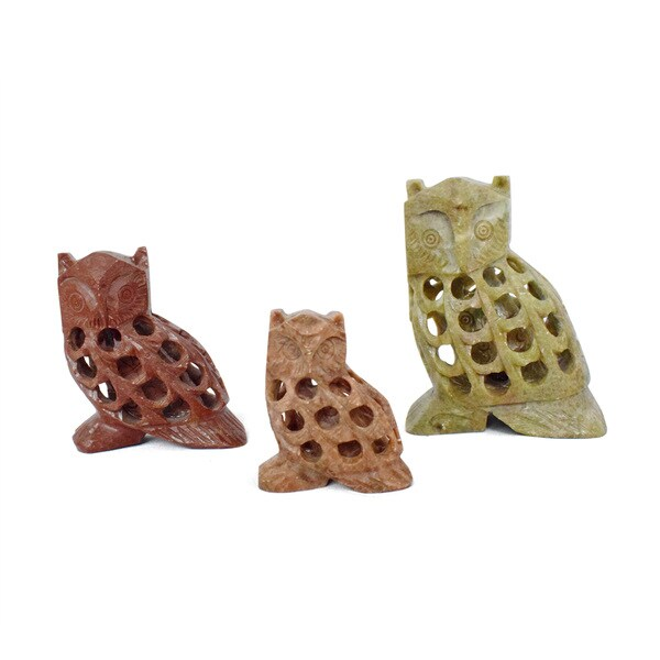 Handmade Owl Soapstone Incense Holder, Set of 3 (India)