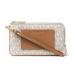 Michael Kors Bedford Vanilla Signature Medium Double Zip Wristlet Wallet
