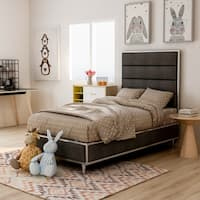 Furniture of America Sena Contemporary Tufted Linen-Like Metal Framed Bed