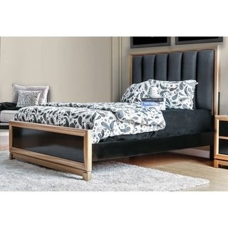 Furniture of America Kazy Contemporary Black Fabric Tufted Panel Bed