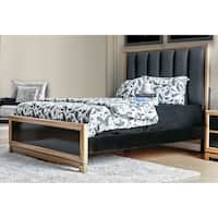 Furniture of America Lopex Contemporary Two-tone Tufted Fabric Tufted Black/Gold Bed