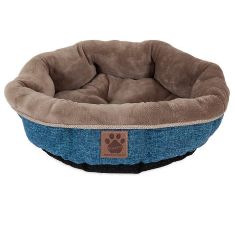 Snoozzy Rustic Elegance Shearling Round Pet Bed