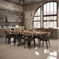 Carbon Loft Kettering Metal Chairs and 72-inch Table with leaves Dining Set
