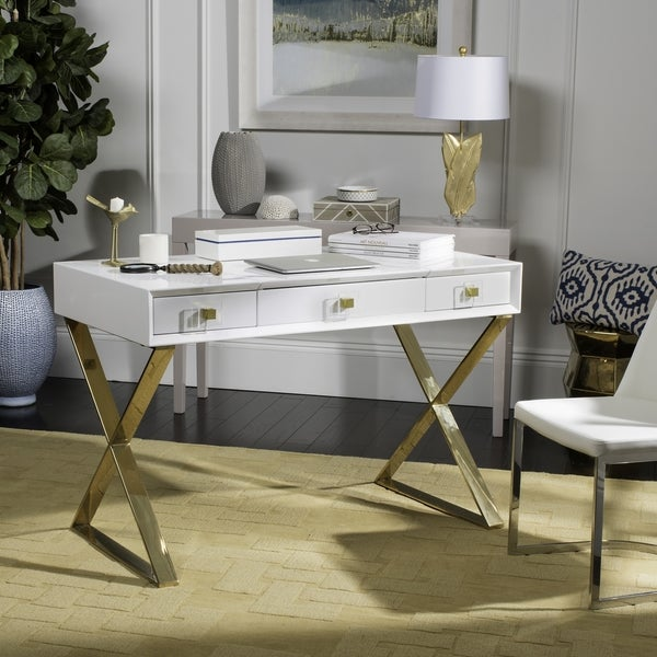 Safavieh Couture High Line Collection Yesenia Lacquer White/ Gold Vanity  Table