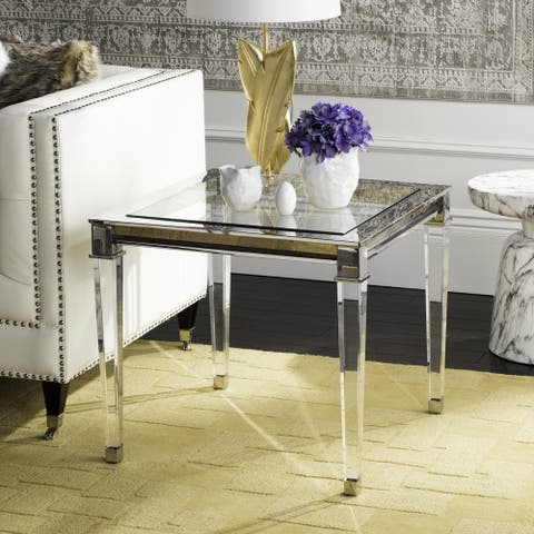 """SAFAVIEH Couture High Line Collection Charleston Acrylic Silver End Table - 25"""" W x 25"""" L x 22.3"""" H"""