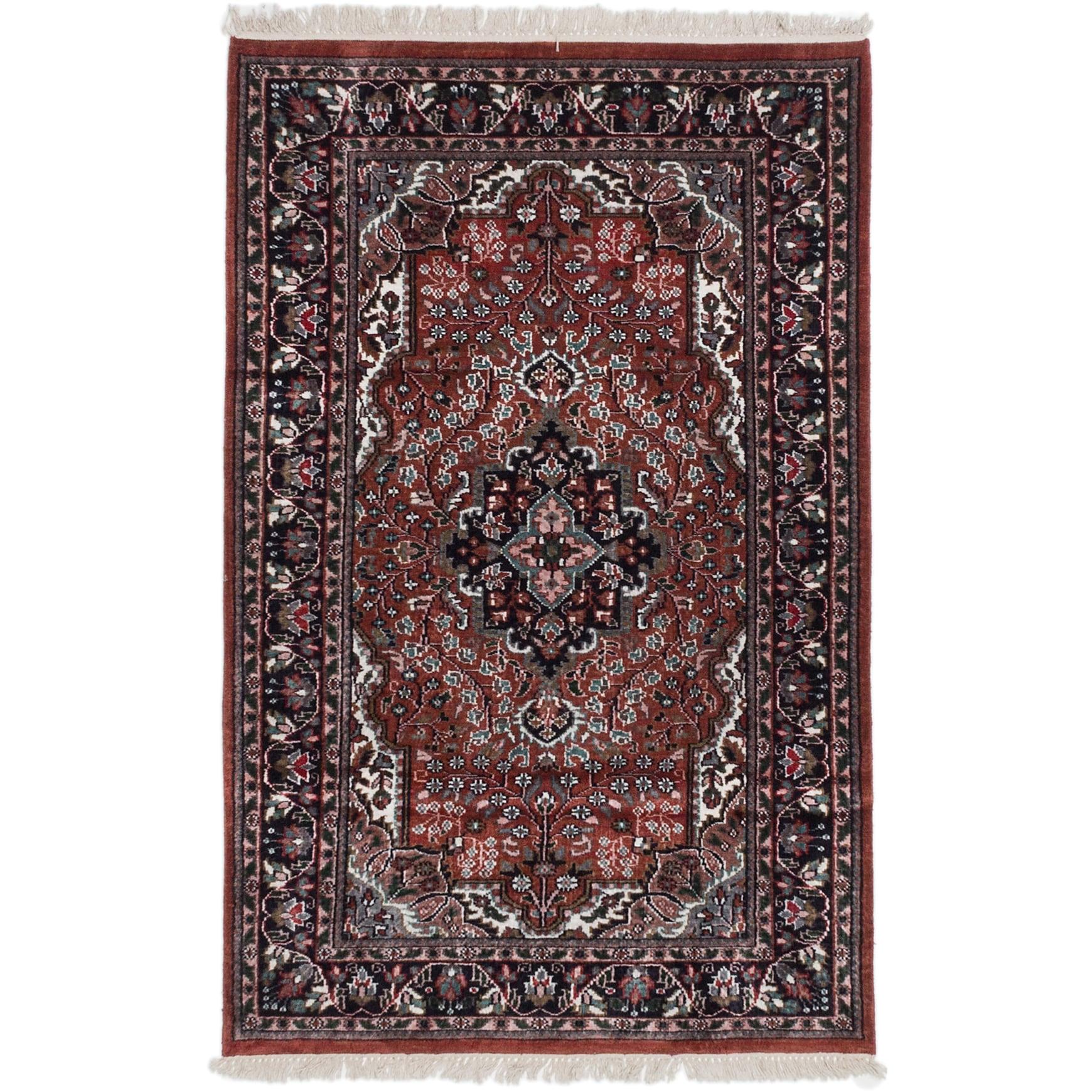 Ecarpetgallery Hand-knotted Kashmir Brown Silk Rug (3'11 ...