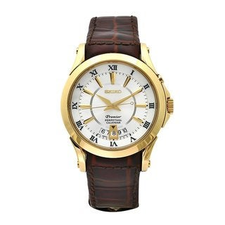 Seiko Premier SNQ118 Men's Perpetual Calendar Leather Strap Watch