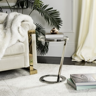 Safavieh Couture High Line Collection Mariana Glass Top Chrome End Table
