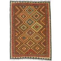 Ecarpetgallery Hand-Woven Kashkoli Kilim Green, Orange Wool Rug (4'6 x 6'3)