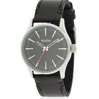 Nixon Men's Black Leather/Stainless Steel Watch