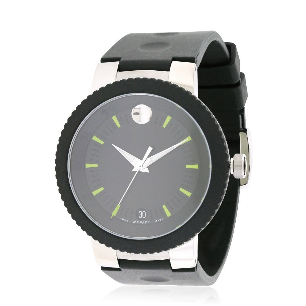 Movado Men's 0606928 Sport Edge Rubber Strap Watch (Watch), Black, Size One Size Fits All