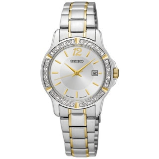 Seiko Ladies SUR718 Stainless Steel and Crystal watch with a Date Window