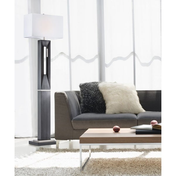 Nova Lighting Parallux White Wood Steel Floor Lamp