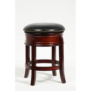 24 Inch Backless Wood Counter Height Stool With Leather