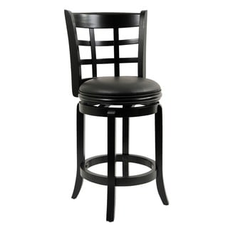 Kyoto Black Wood 24-inch Swivel Stool