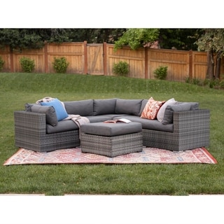 4-Piece Gray Multi-Shade Rattan Sectional with Cushions