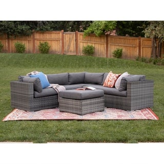 4-Piece Grey Multi-Shade Rattan Outdoor Sectional with Cushions