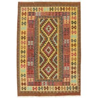 Ecarpetgallery Hand-Woven Kashkoli Kilim Red, Yellow Wool Rug (4'2 x 6'2)