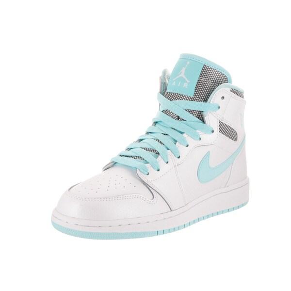 8b2d363a60bb78 Nike Jordan Kids  x27  Air Jordan 1 Retro High Gg White Leather Basketball  Shoes