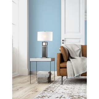 Nova Lighting Woodbury Grey Metal and Wood Table Lamp