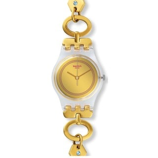 Swatch Goldtone Stainless Steel and Clear Plastic Elefinja Women's Watch