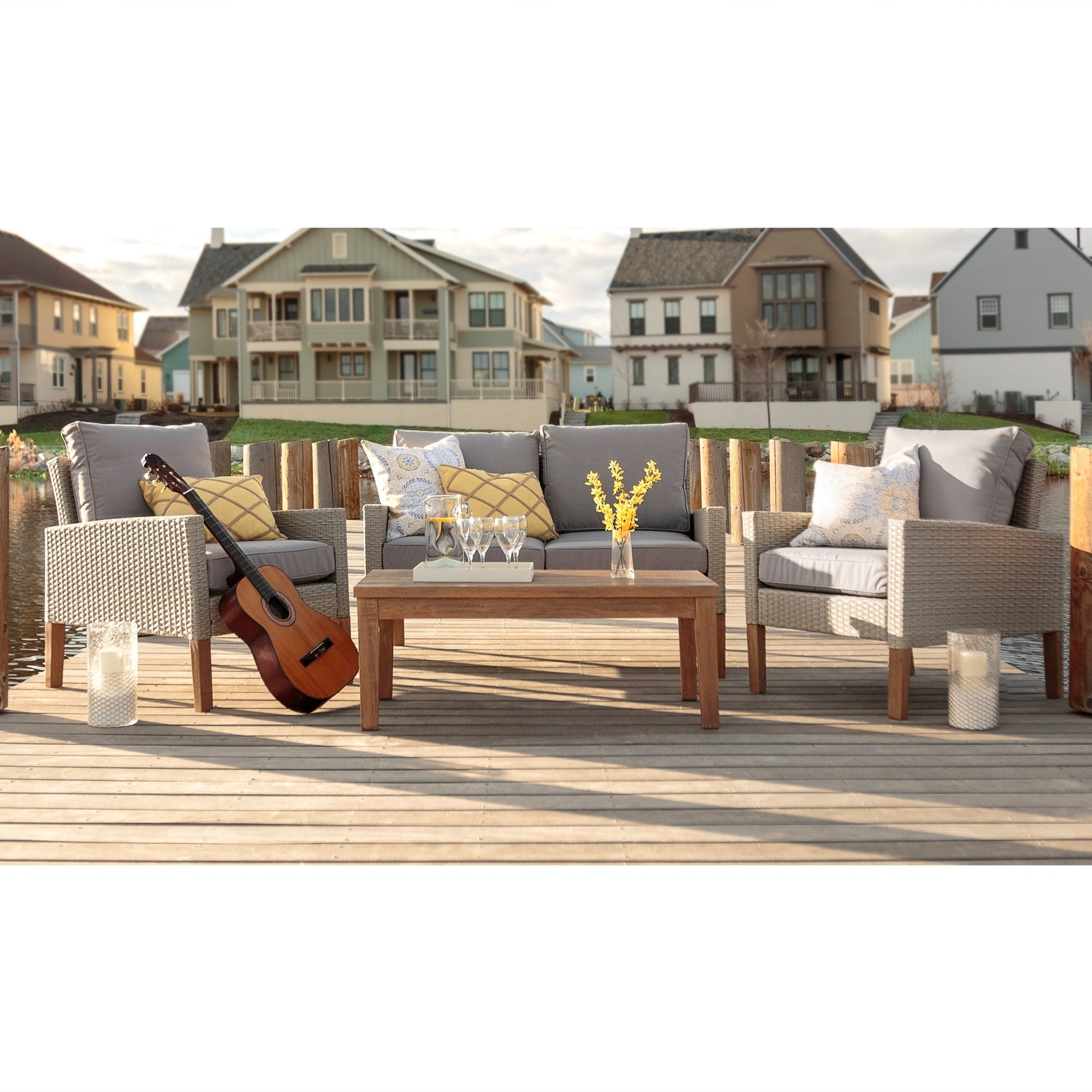 4-Piece Eucalyptus and Rattan Deep Seating Chat Set (4 Pi...