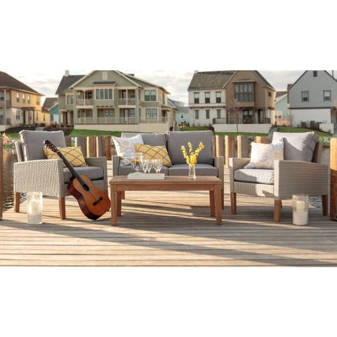 4-Piece Rattan and Eucalyptus Outdoor Set