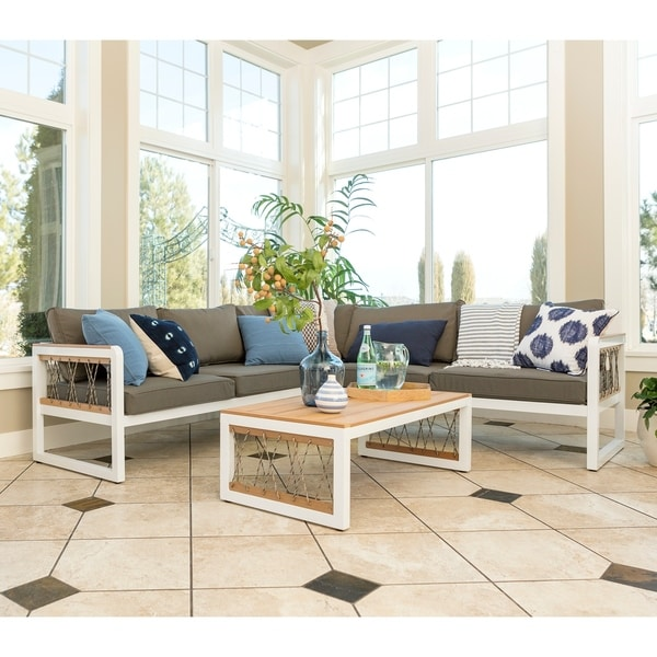 4 Piece Outdoor Patio Sectional With Cord Accents