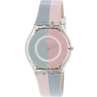 Swatch Women's Pink and Blue Leather and Plastic Fond de Teint Watch