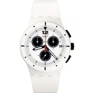 Swatch White Silicone and Plastic Why Again Men's Watch