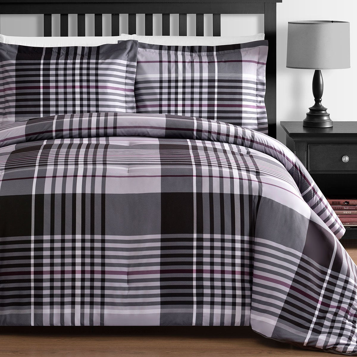 Comfy Bedding Grey Plaid Down Alternative 3 Piece Comforter Set Red Full Home Comforters