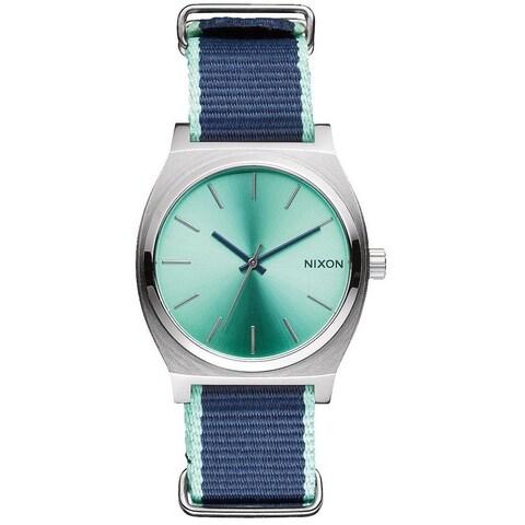 Nixon Time Teller Women's Green/Blue Nylon Strap Watch