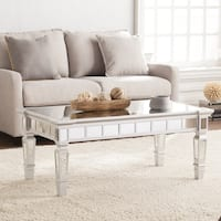 Silver Orchid Olivia Glam Mirrored Rectangular Cocktail Table - Matte Silver