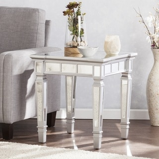 Silver Orchid Olivia Glam Mirrored Square End Table - Matte Silver