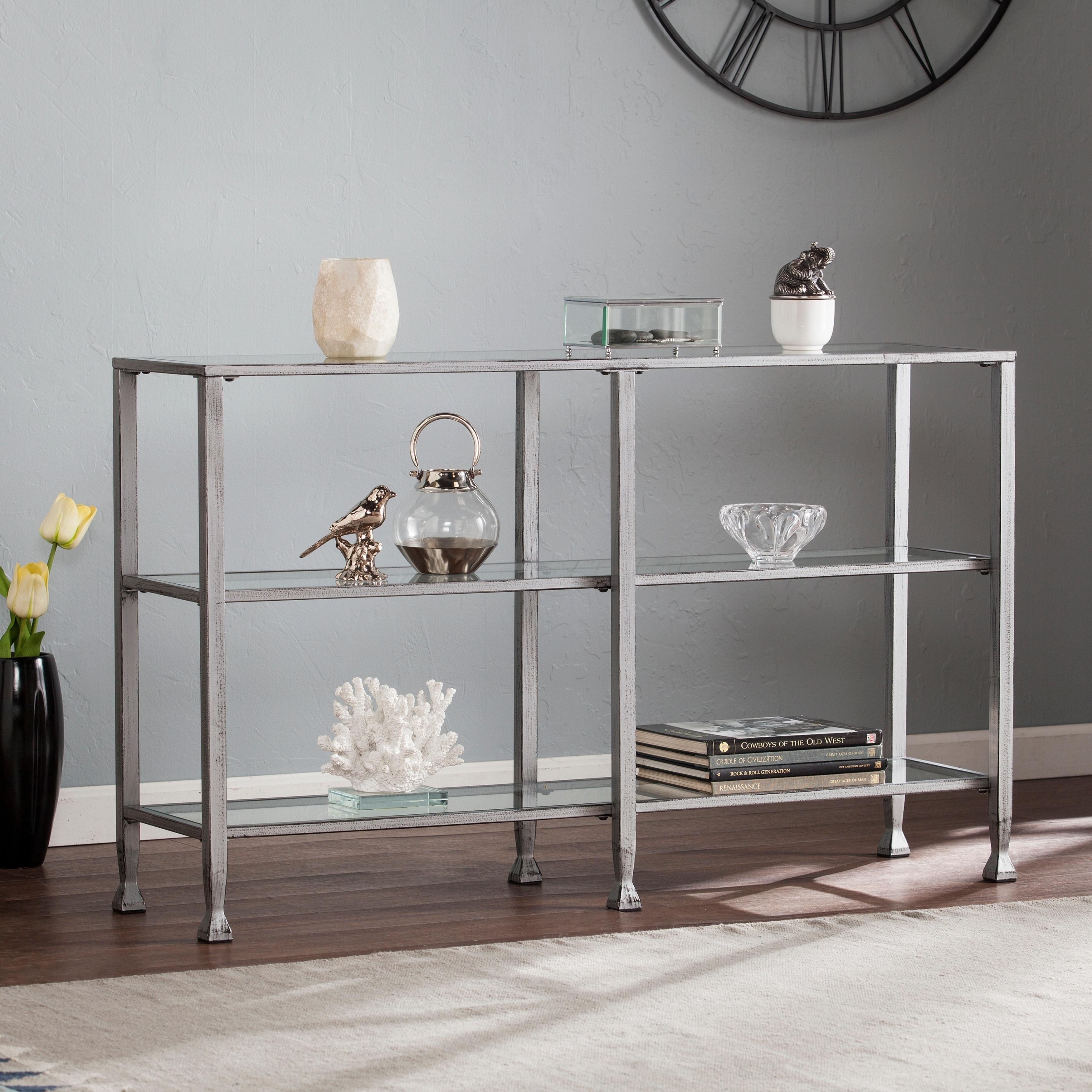 Harper Blvd Jensen Metal/Glass 3-Tier Console Table/Media...