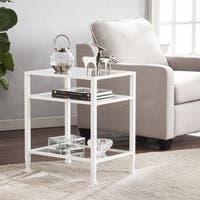 Porch & Den RiNo Brighton White Metal/ Glass End Table